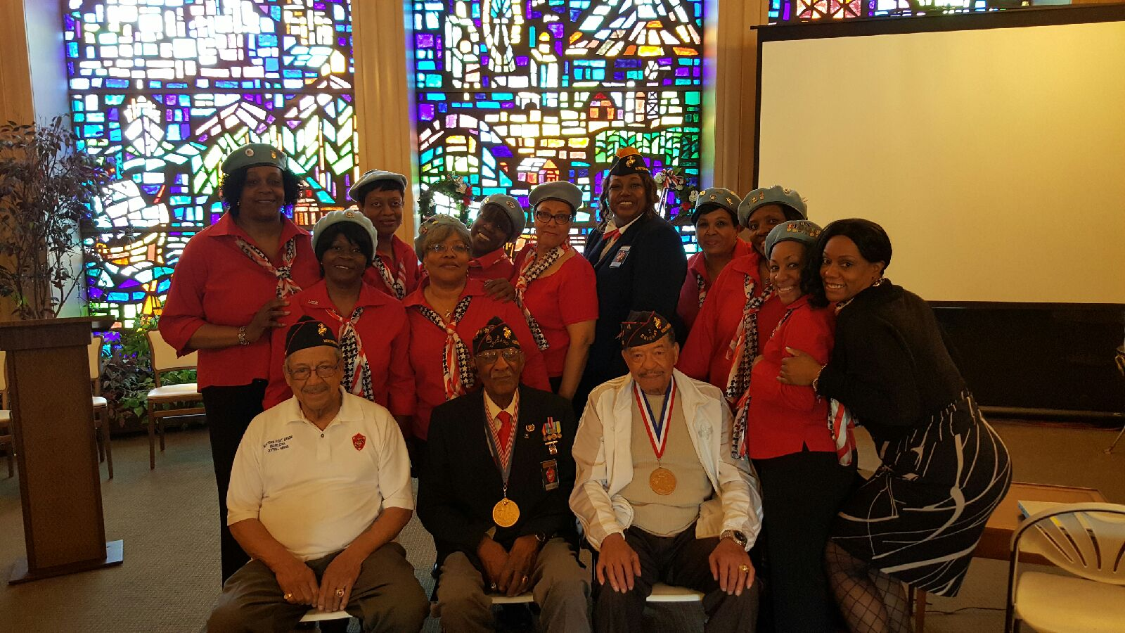 NWVU members shared a photo with Jocelyn Buchanan, soloist and  (3) of the first African Americans to serve in the US Marine Corps during WW II (left) John Vanoy (center) James Reynolds and (right) Wendell Ferguson