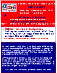 National Women Veterans United GREET & MEET @ SGT Simone A. Robinson Military Women Veteran's Center